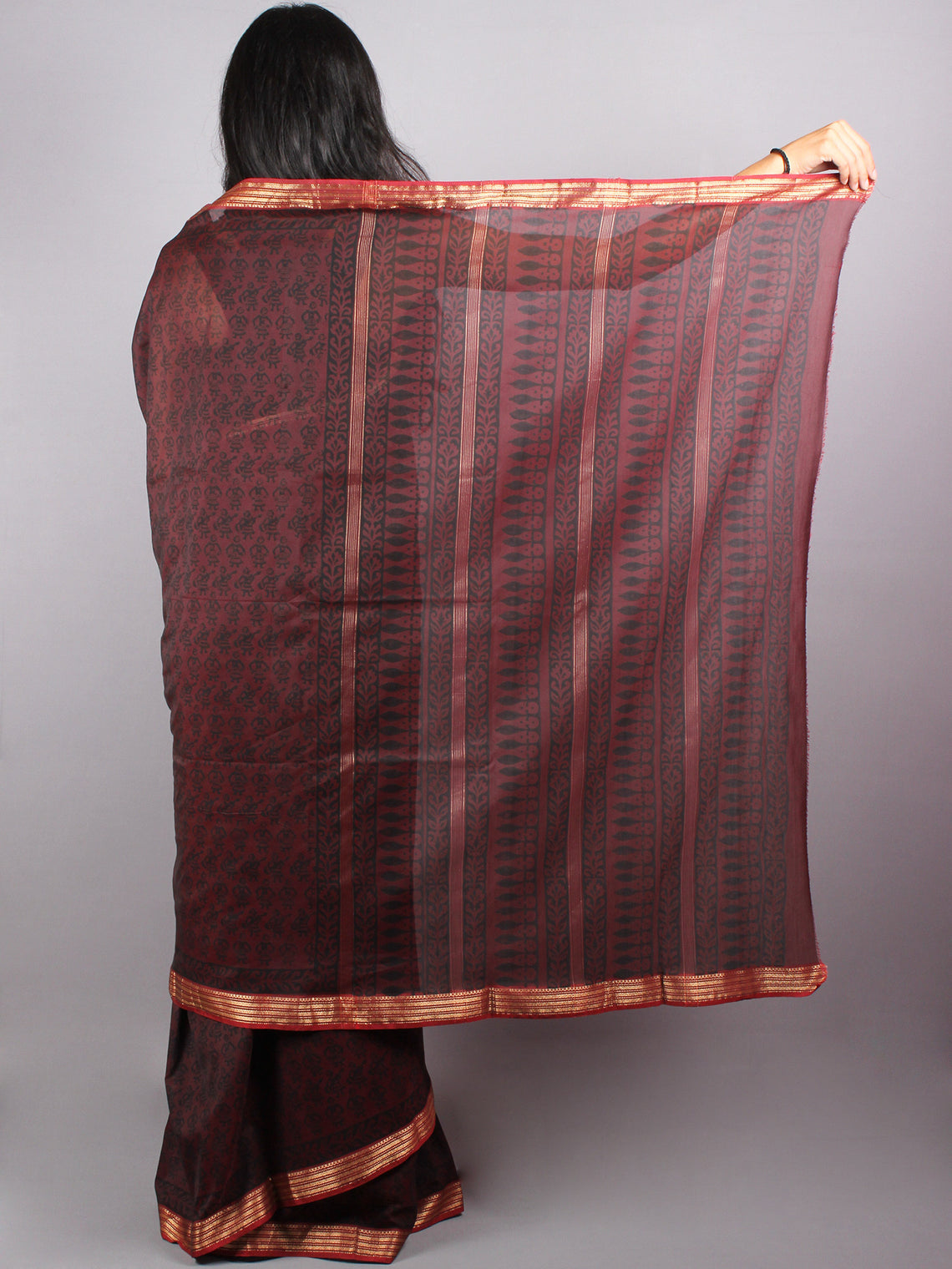 Mahroon Black Mono Chanderi  Hand Block Printed Saree with Zari Border - S0317213