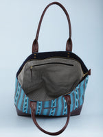 SkyBlue Indigo Brown Ikat & Vegan Leather Tote Bag - B1007