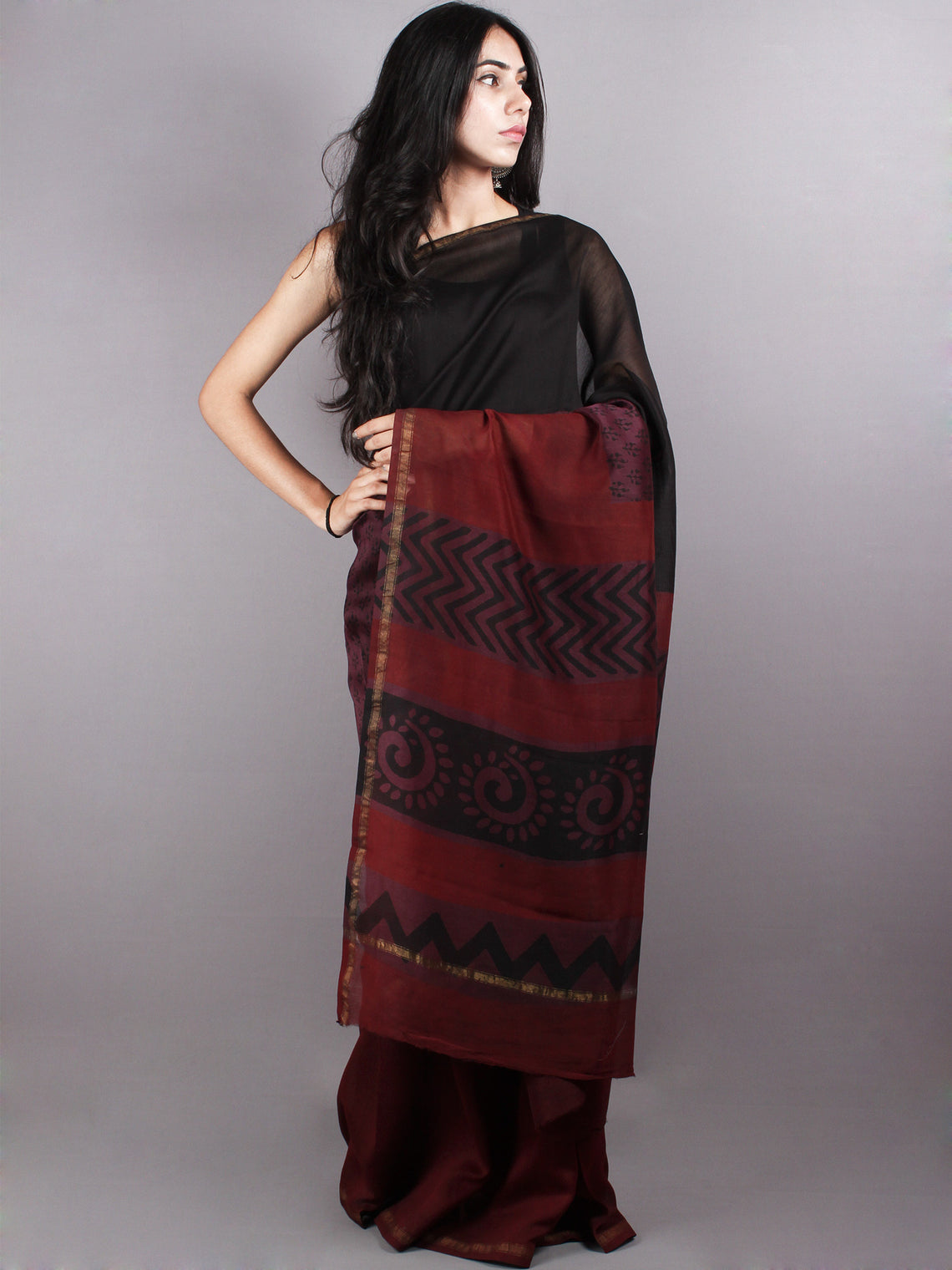 Black Mahroon Mono Chanderi  Hand Block Printed Saree with Zari Border - S0317216