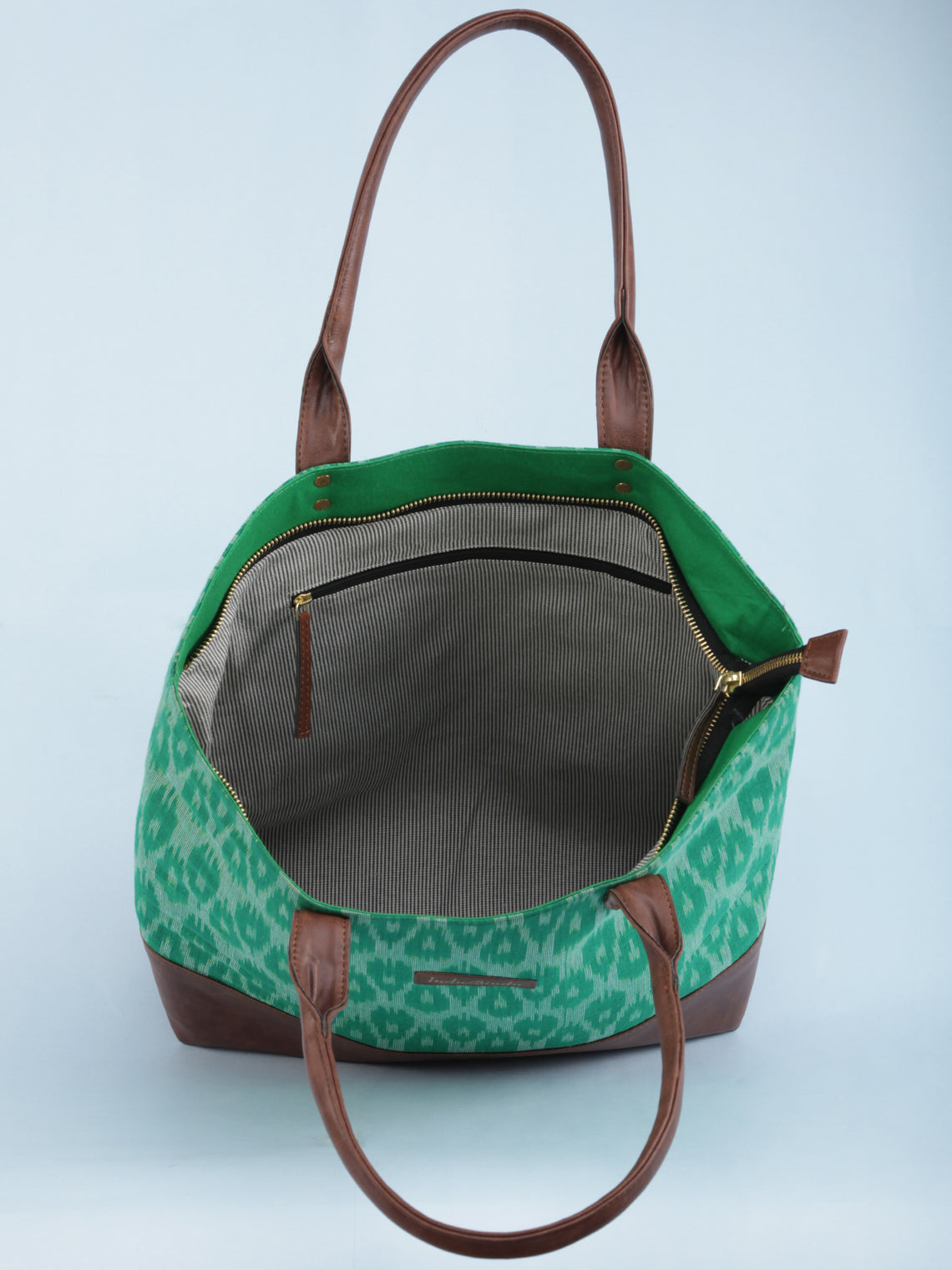 Green OffWhite Ikat & Vegan Leather Tote Bag - B1008