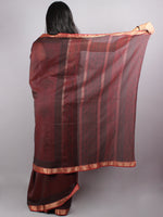 Maroon Black Mono Chanderi  Hand Block Printed Saree With Zari Border - S0317218