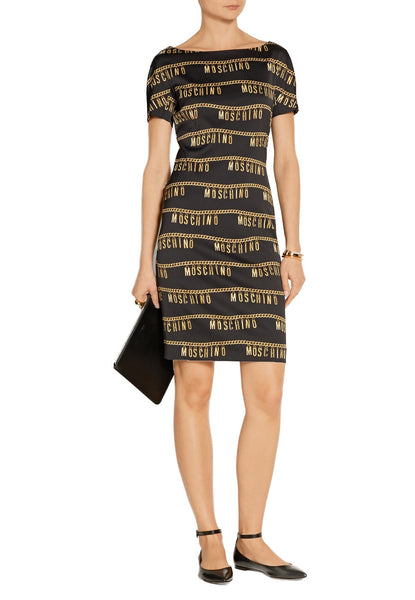 da0d80b2e2 Moschino Black with Gold Chain Logo Stretch Crepe Dress | Wardrobista.com