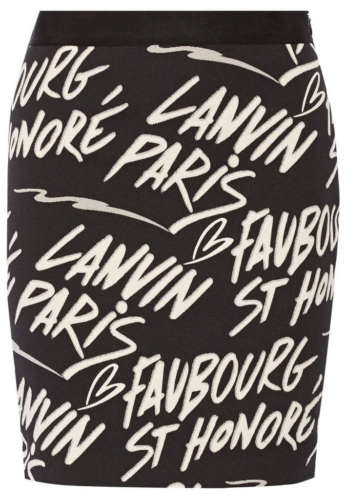 Black Graffiti Lanvin Logo Print Stretch Skirt