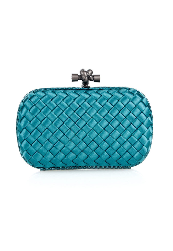 Teal Knot Watersnake Intrecciato Satin Clutch