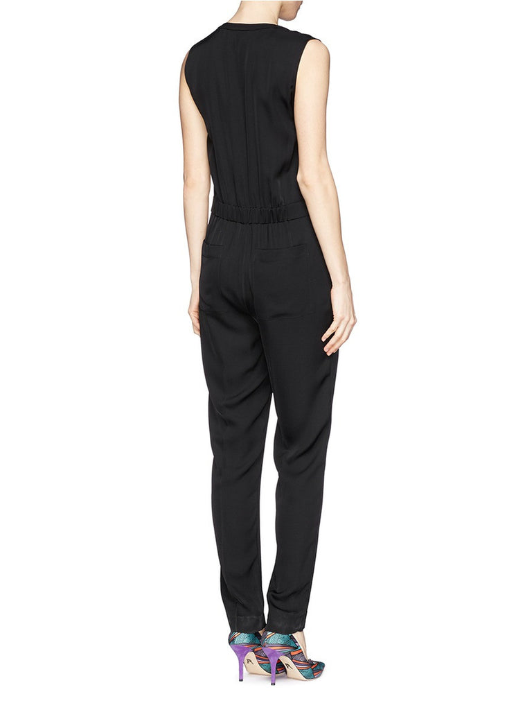 Black Sibby Silk Georgette Sleeveless Jumpsuit