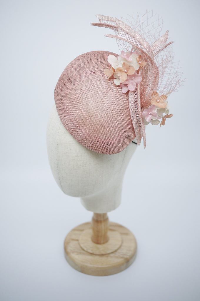 Being of Love - Dusky Pink Teardrop Hat with Silk Flowers