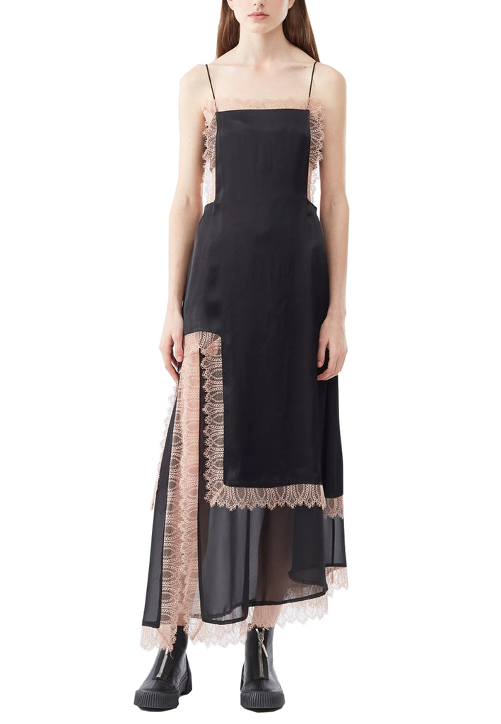 Black Cutout Pink Lace Trimmed Maxi Dress
