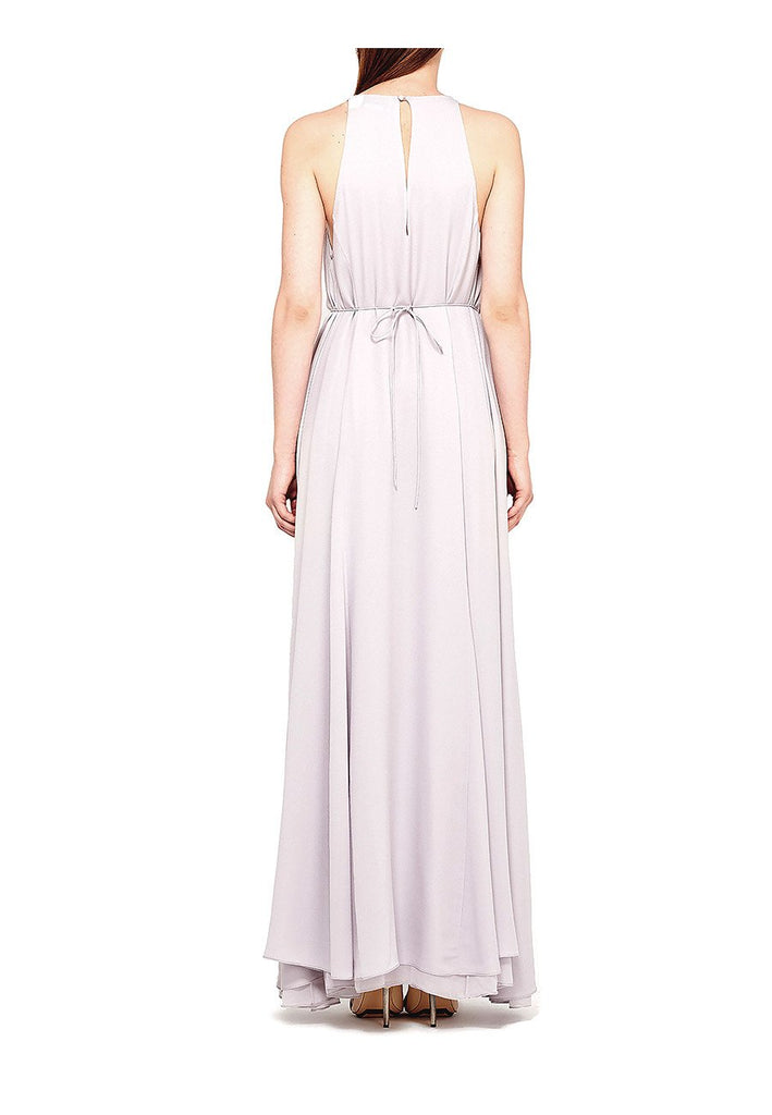 Lilac Gathered-Waist Pleated Silk Maxi Dress (Pre-loved)