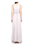 Lilac Gathered-Waist Pleated Silk Maxi Dress