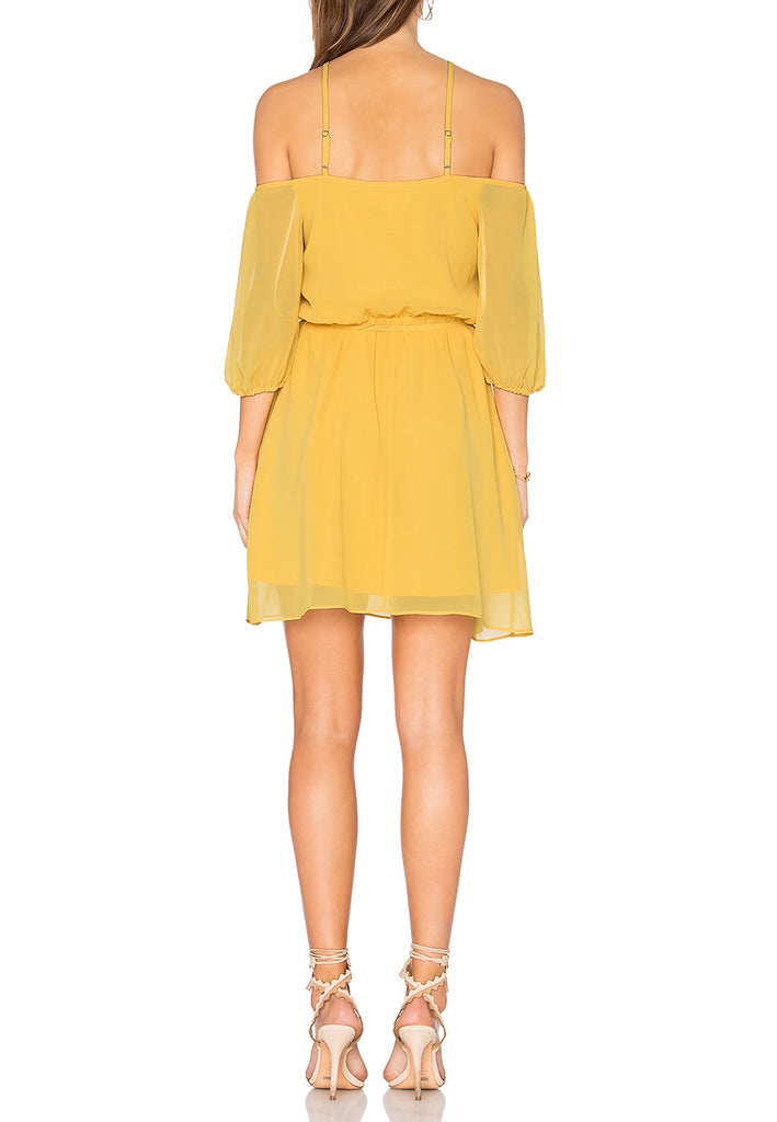 Yellow Blouson Off Shoulder Mini Dress