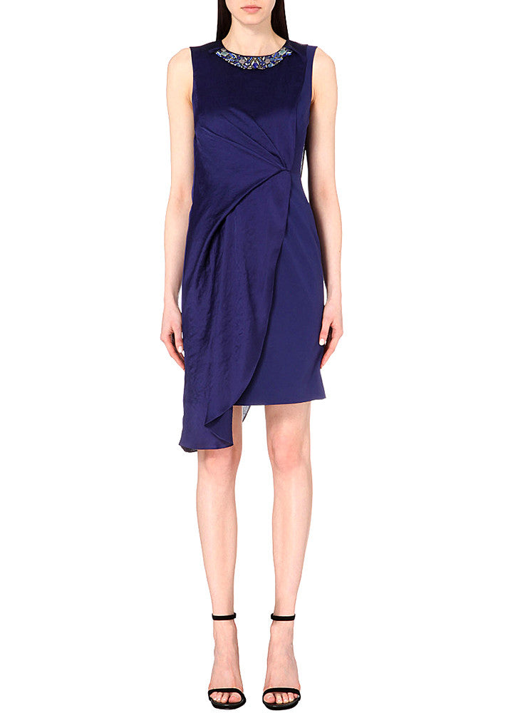 Navy Embellished Satin & Stretch­ Crepe Dress