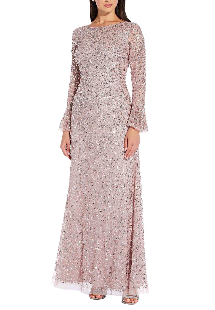 Pink Allover Sequins Bell Sleeves Gown