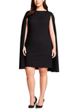 Black Cape Sleeves Mini Dress