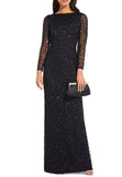 Black Allover Sequins Long Sleeves Gown