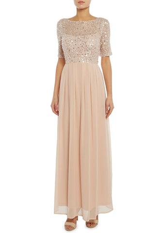 Silver Floral Embroidered Dotted Tulle Maxi Dress