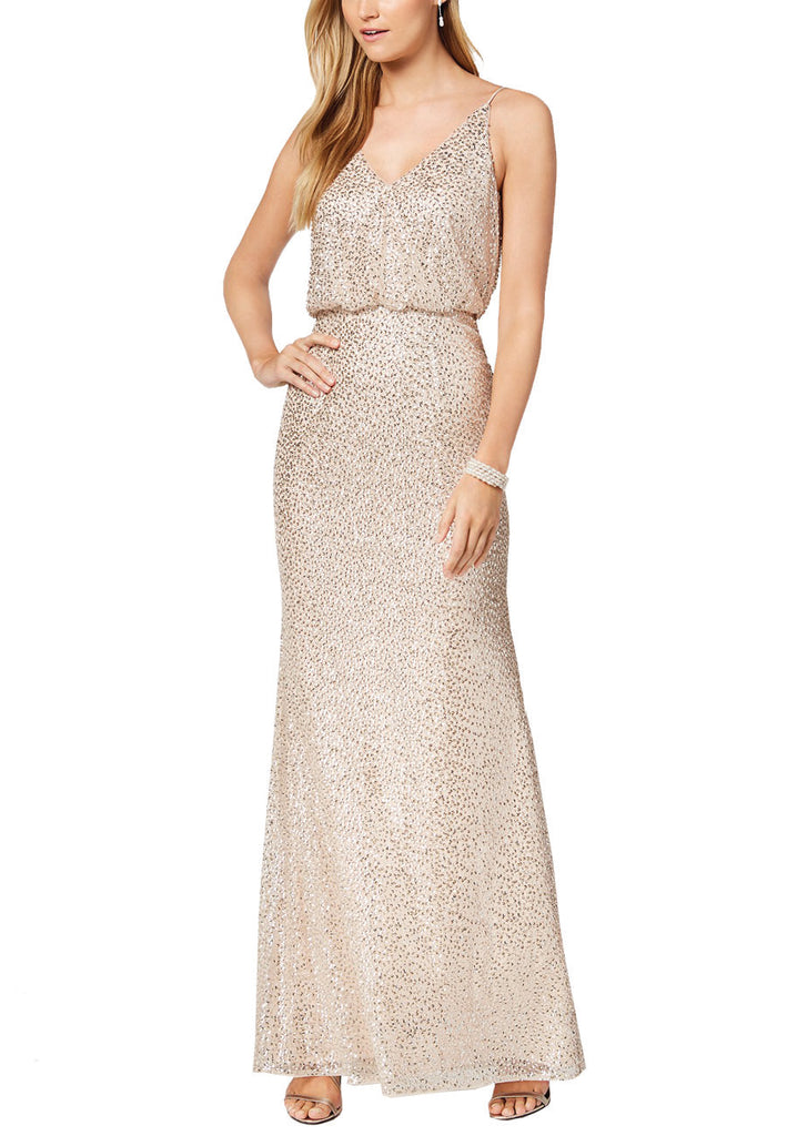 Gold Strappy Blouson Sequins Maxi Dress