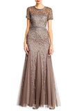 Bronze Embellished Short Sleeves Mermaid Gown