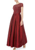 Red Short Sleeves Embellished Flare Gown