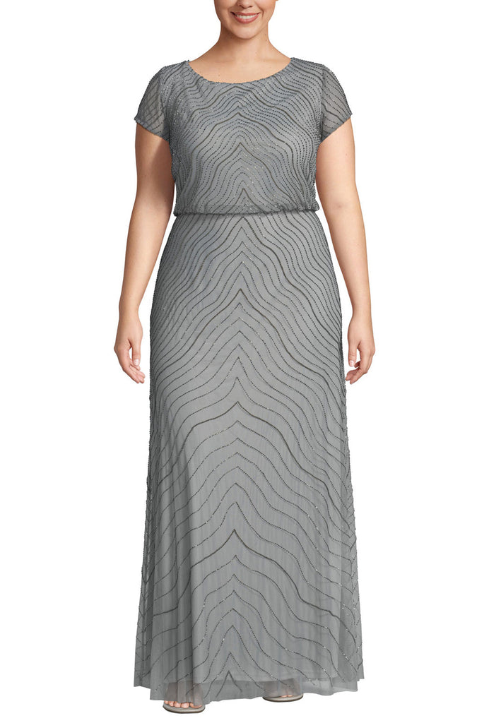 Silver Wavy Sequins Short Sleeves Gown