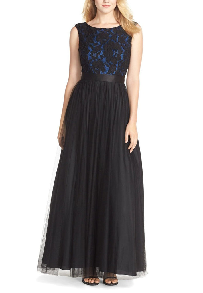 Black and Blue Overlay Lace Tulle Maxi Dress