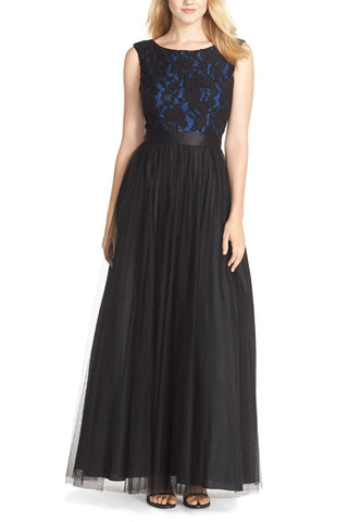 Black and Navy Elly Floral Embroidered Cap Sleeves Maxi Dress