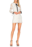 White Braelynn Contrast Ribbon Long Sleeve Mini Dress
