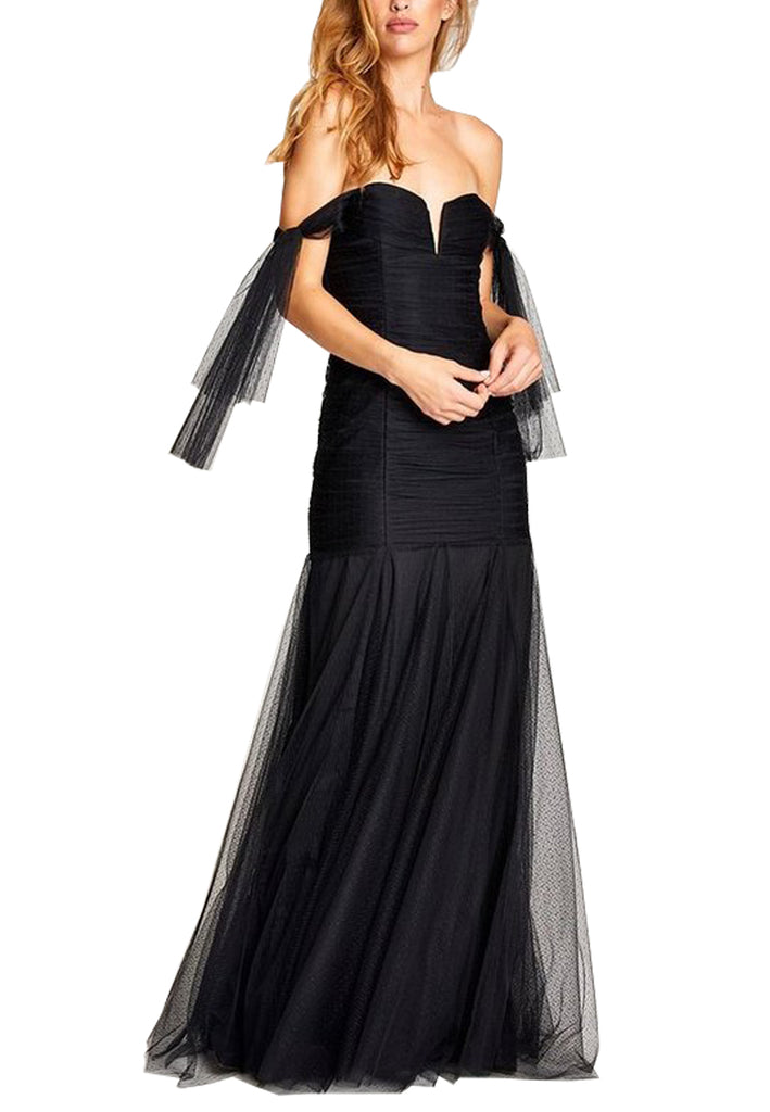 Black Good Vibes Off Shoulder Plunging Gown