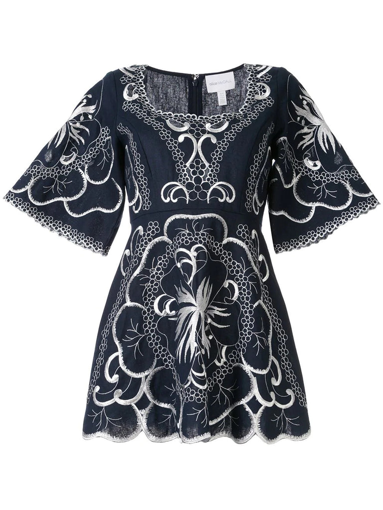 Navy Dissolving Heart Embroidered Cutout Mini Dress