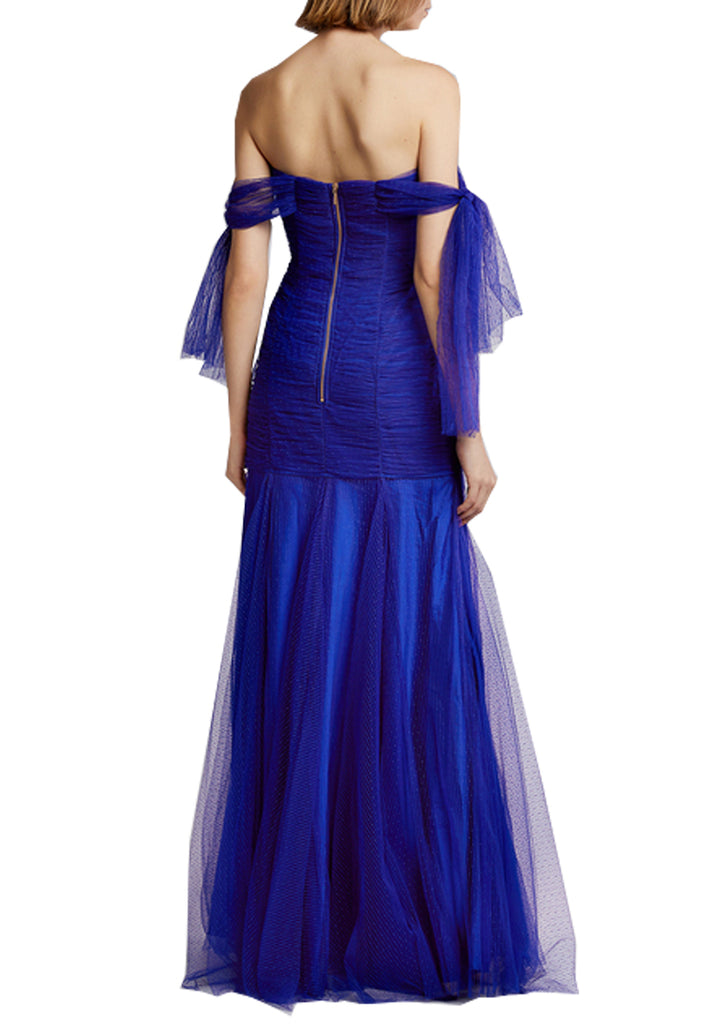 Royal Blue Good Vibes Off Shoulder Plunging Gown