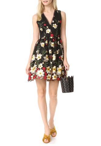 Black Floral Jacquard Fancy Flower Mini Dress
