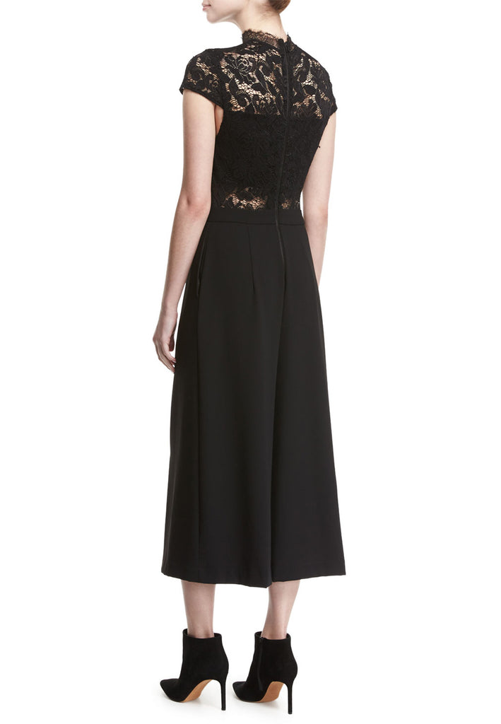 Black Elysia Short Sleeves Lace and Crepe Jumpsuit