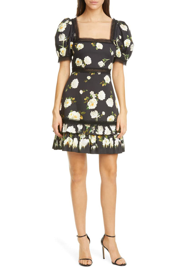 Black Wylie Floral Puff Sleeves Mini Dress