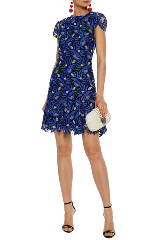 Blue Ruffled Woven Mini Dress