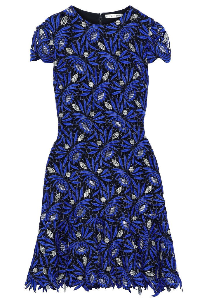Blue Imani Gold Floral Guipure Lace Mini Dress