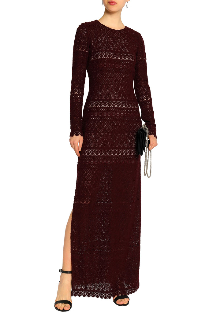 Burgundy Dawna Long Sleeves Lace Gown