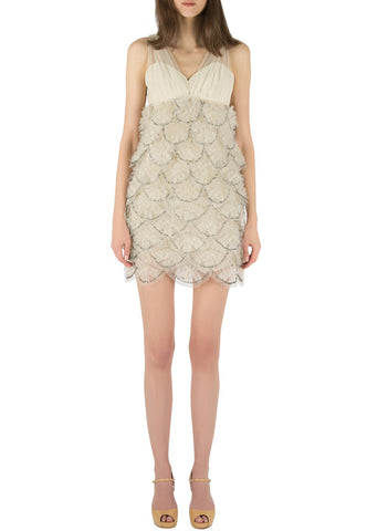Light Grey Tulle Over Lace Mini Dress