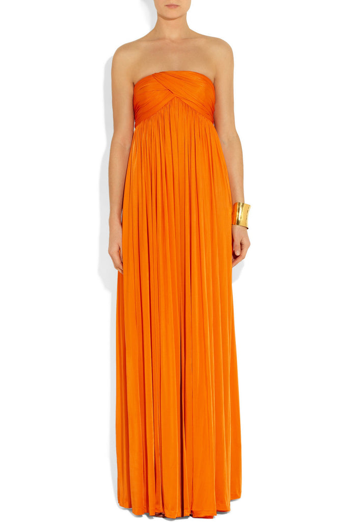 Orange Strapless Stretch Satin Jumpsuit