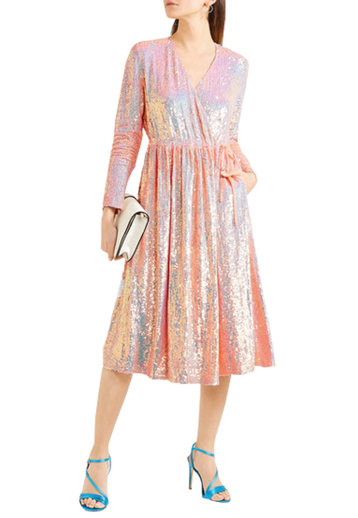 Pink All Over Sequins Wrap Dress