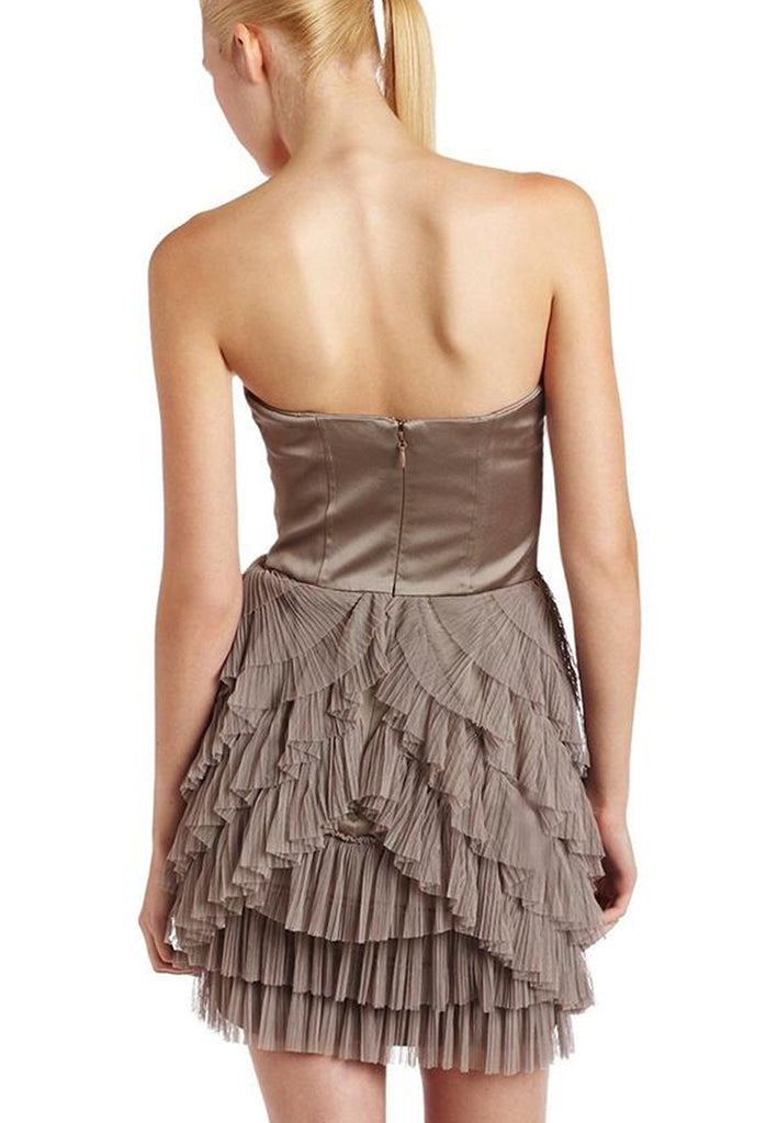 Grey Hazelnut Strapless Ruffles Mini Dress