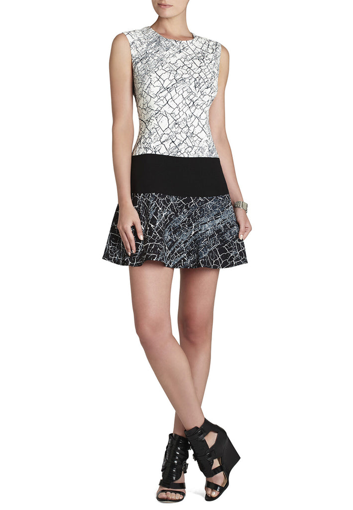 Black and White Crackle Print Lillian Dress