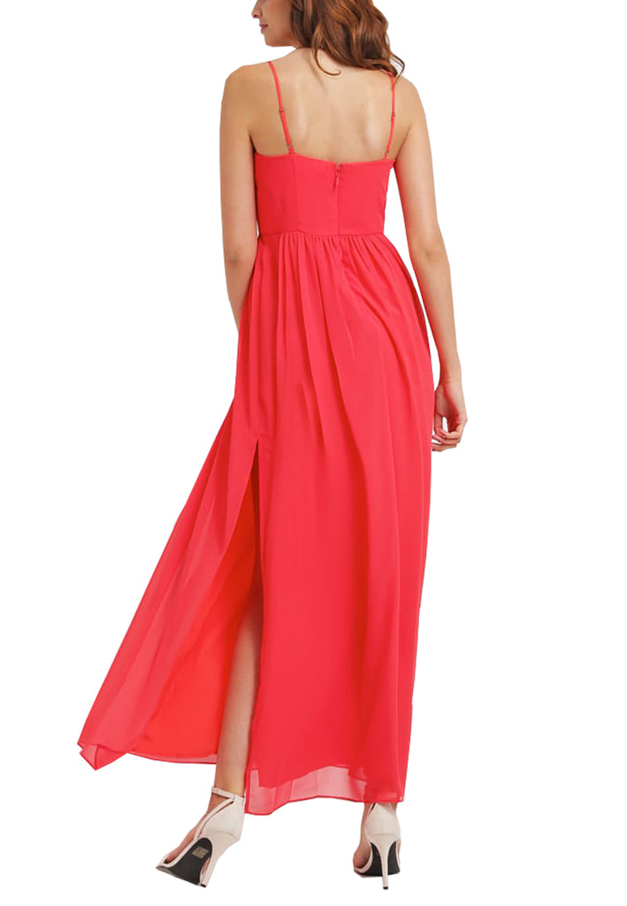 Red Bittersweet Piping Maxi Dress