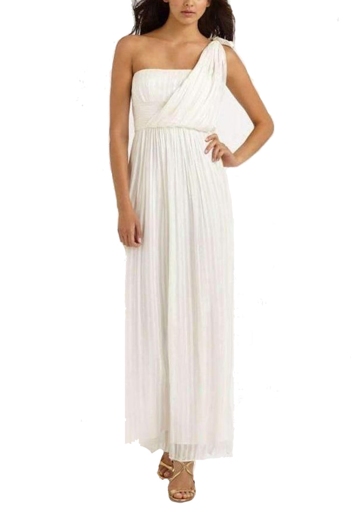 White One Shoulder Shadow Silk Gown (Pre-loved)