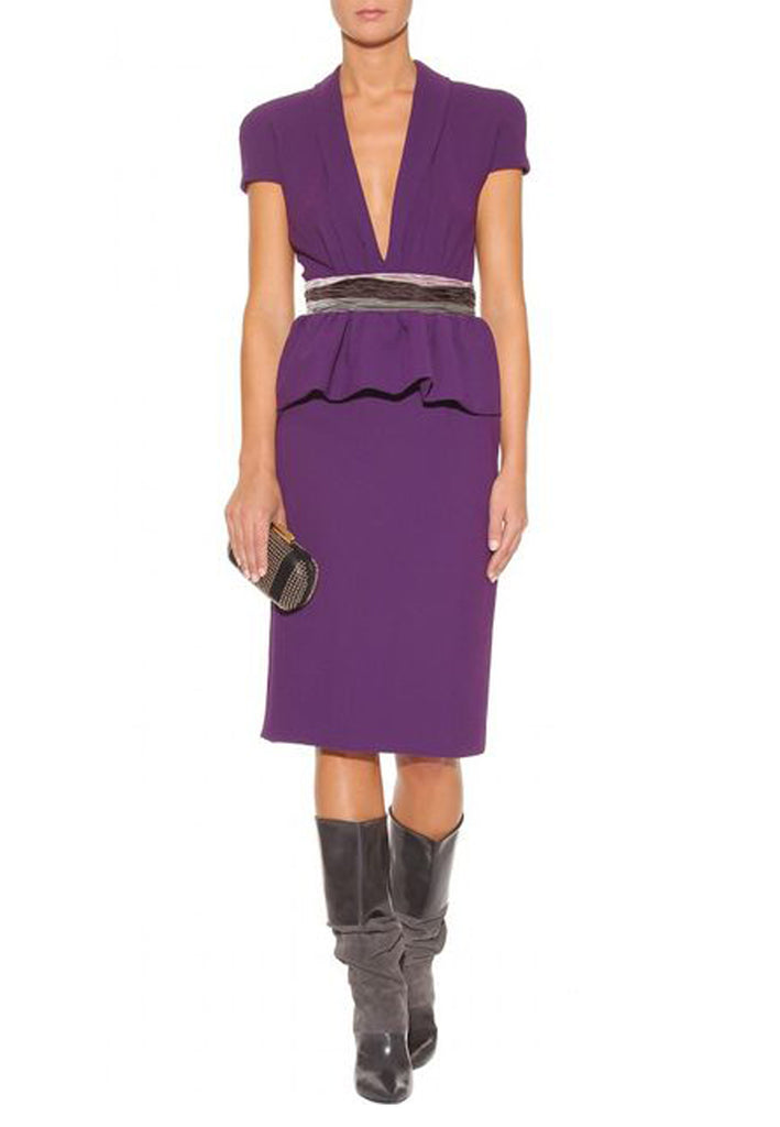 Purple Silk Blend Velvet Belt Peplum Dress