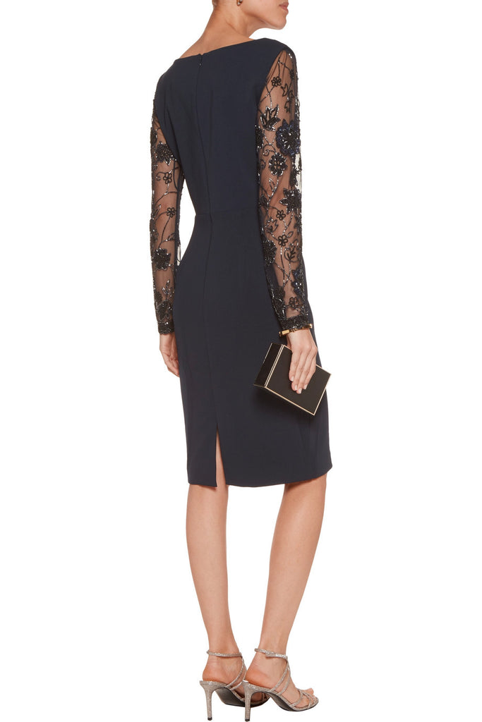 Navy Embellished Long Sleeves Crepe Dress
