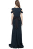 Dark Navy with Gold Beaded Belt Crepe Gown