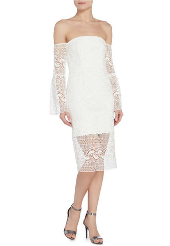 White Star Lace Long Sleeve Mini Dress