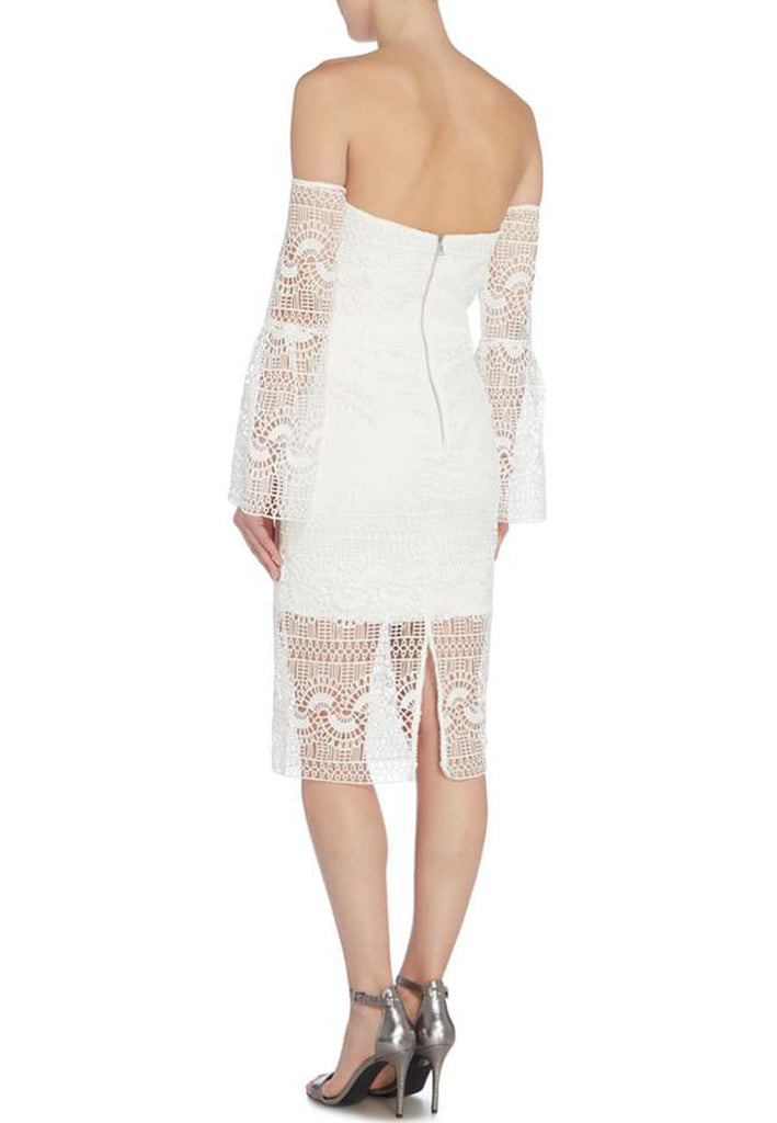White Off Shoulder Lace Midi Dress