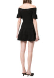 Black Don't Forget About Me Zipped Off Shoulder Mini Dress