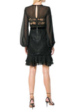 Black Diamond Sheer Long Sleeves Sequins Mini Dress