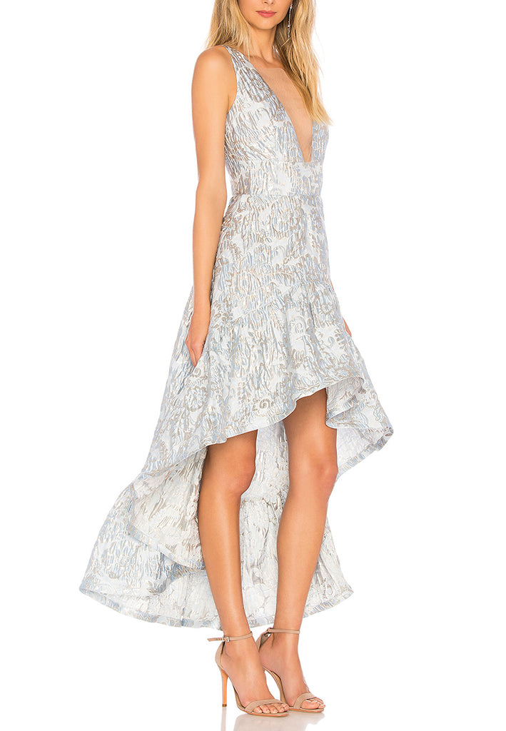 Silvery Blue Fiona Jacquard High Low Dress